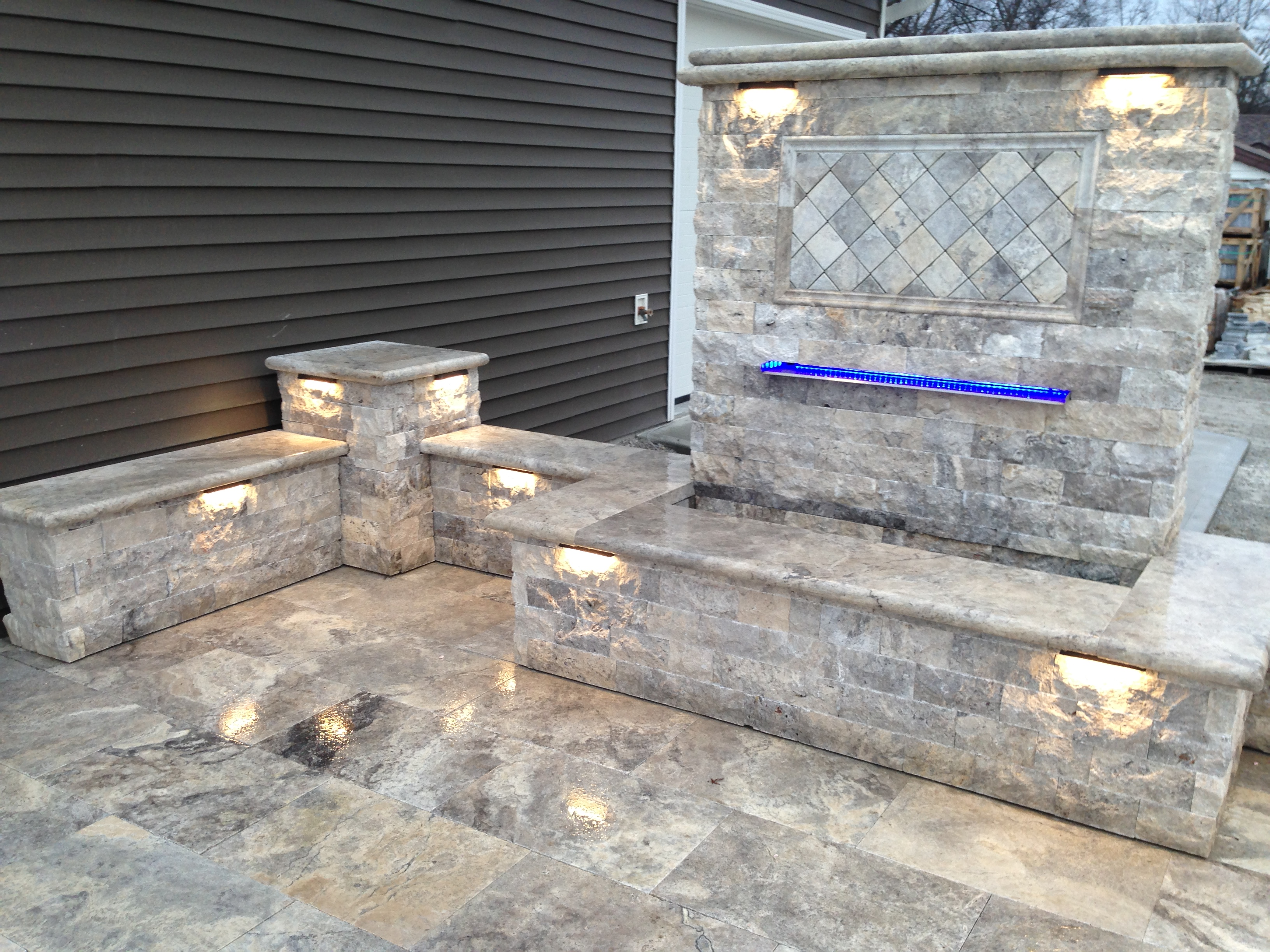 Silver Patio, Seat Walls, with Vianti Falls