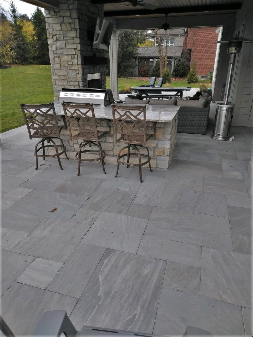 Pewter Sandstone covered porch
