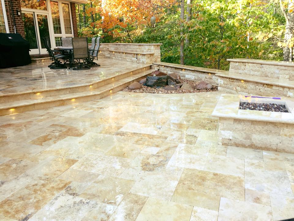Tuscany Patio with Step Treads, Walls, and Fire Pit
