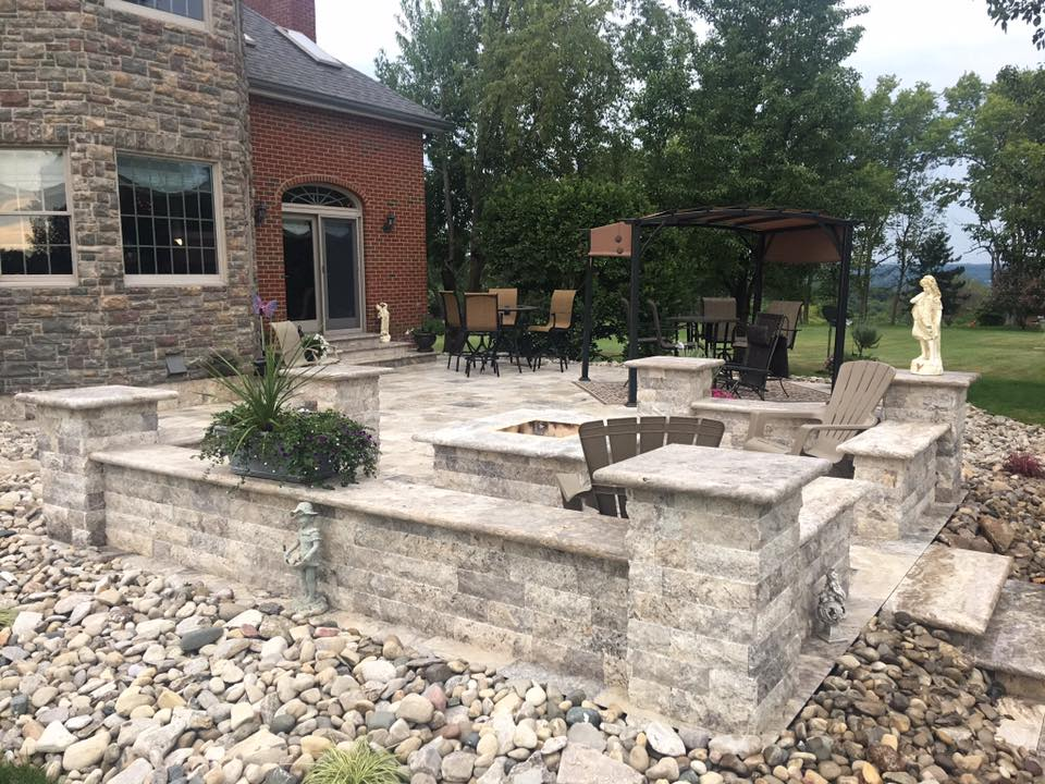 Silver Patio with Sitting Walls, Pillars, and Fire Pit